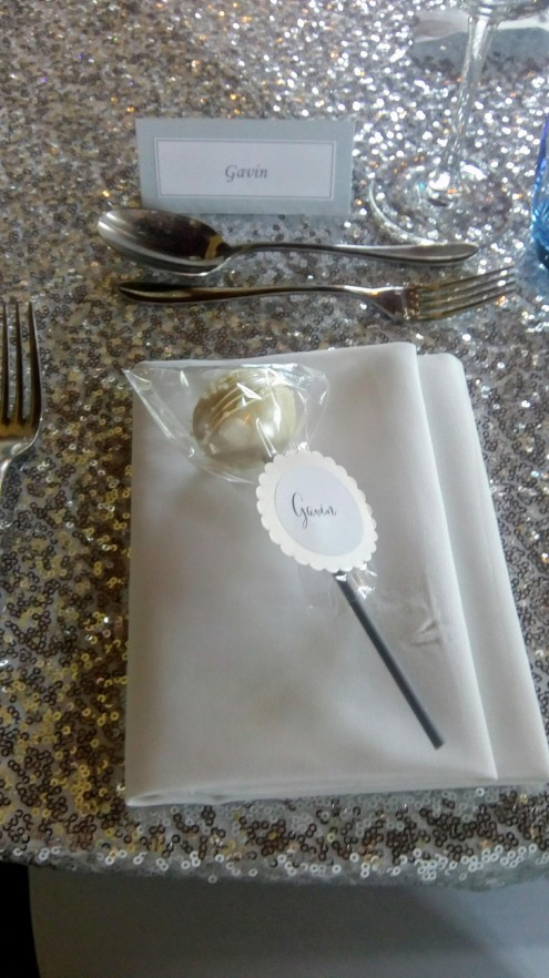 place cake pops at each place setting to make your guests feel special