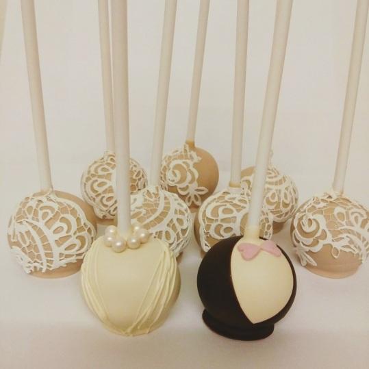 Bride & Groom cake pops with vintage lace pops