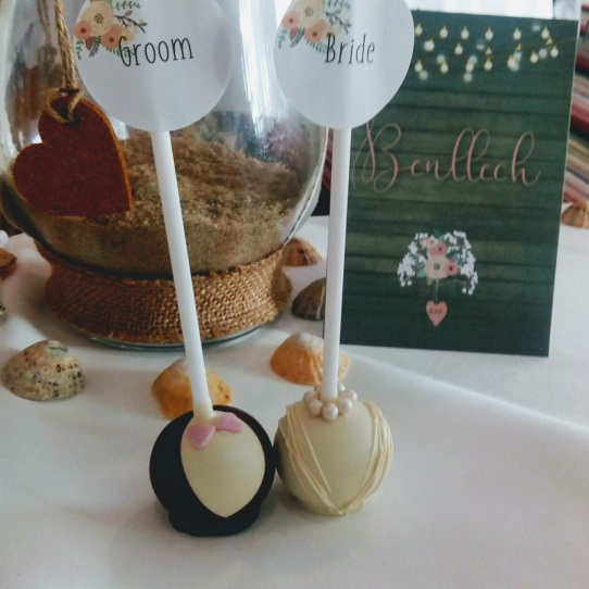 Bride & Groom Cake Pops with place name labels